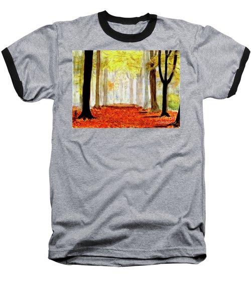 Baseball T-Shirt featuring the painting Autumn Trail by Yoshiko Mishina