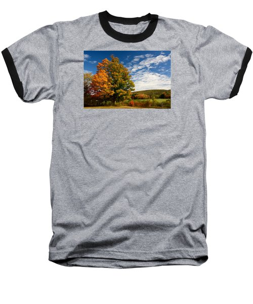 Baseball T-Shirt featuring the photograph Autumn Tree On The Windham Path by Nancy De Flon