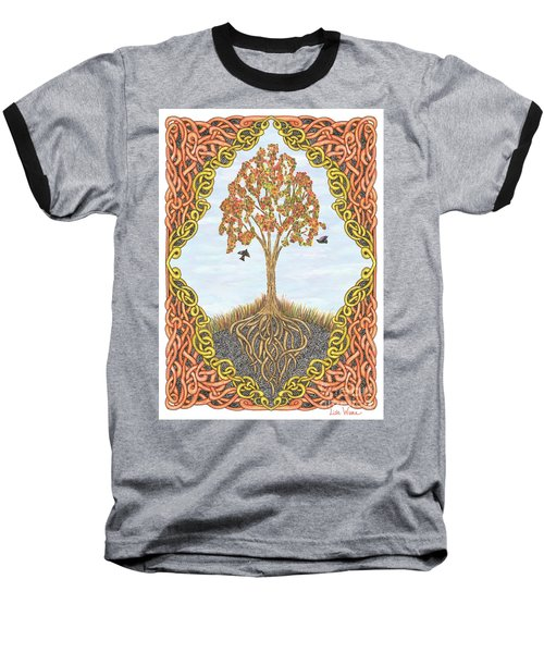 Autumn Tree With Knotted Roots And Knotted Border Baseball T-Shirt by Lise Winne