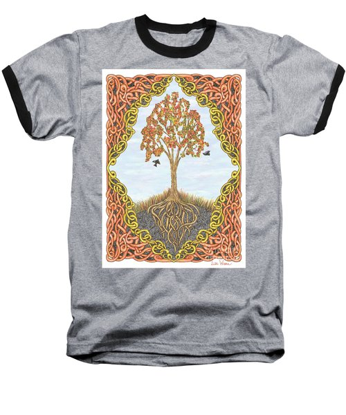 Autumn Tree With Knotted Roots And Knotted Border Baseball T-Shirt