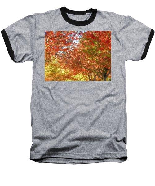 Autumn Trees Digital Watercolor Baseball T-Shirt