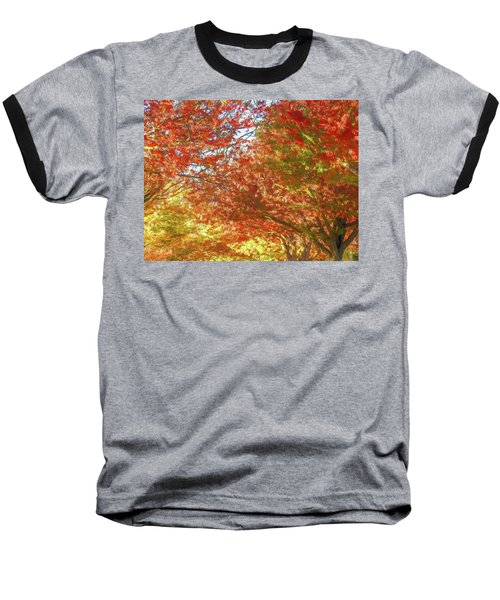 Autumn Trees Digital Watercolor Baseball T-Shirt