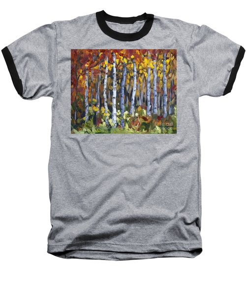 Baseball T-Shirt featuring the painting Autumn Trees by Jennifer Beaudet