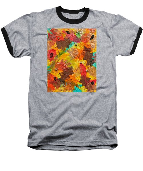 Autumn Leaves Underfoot Baseball T-Shirt by Michele Myers