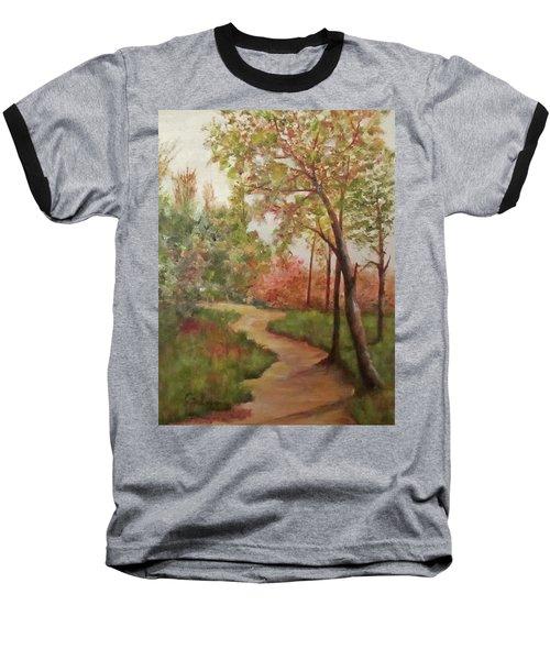 Baseball T-Shirt featuring the painting Autumn Walk by Roseann Gilmore