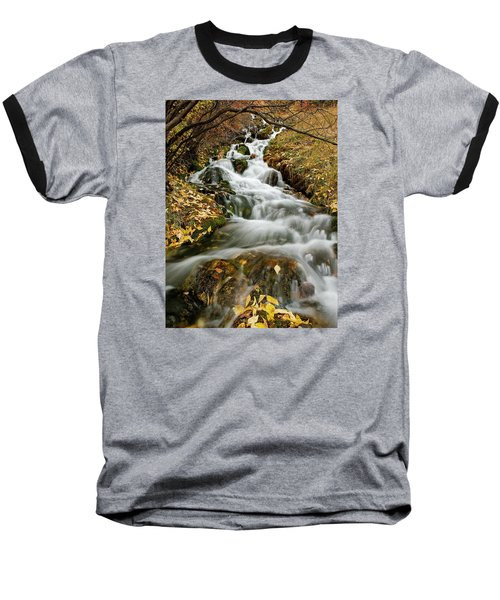 Autumn Waterfall Baseball T-Shirt