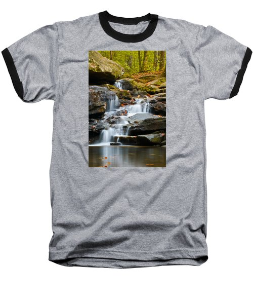 Autumn Waterfall Baseball T-Shirt by Shelby  Young