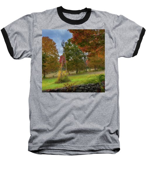 Baseball T-Shirt featuring the photograph Autumn Windmill Square by Bill Wakeley