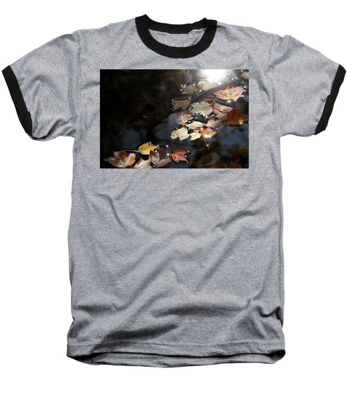 Autumn With Leaves On Water Baseball T-Shirt