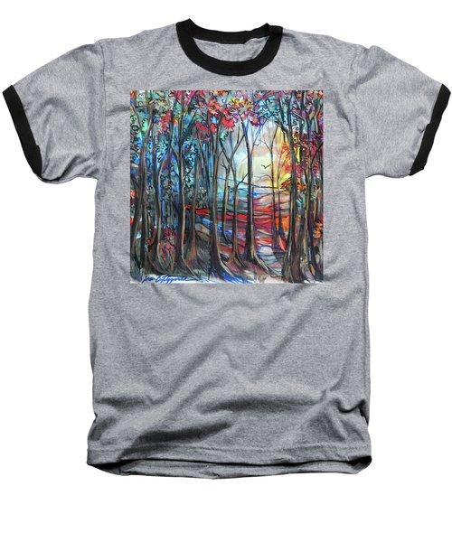 Autumn Woods Sunrise Baseball T-Shirt