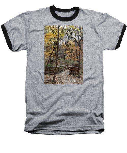 Autumnal Leaves Baseball T-Shirt by Yumi Johnson