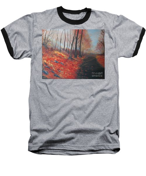 Baseball T-Shirt featuring the painting Autumns Pathway by Leslie Allen