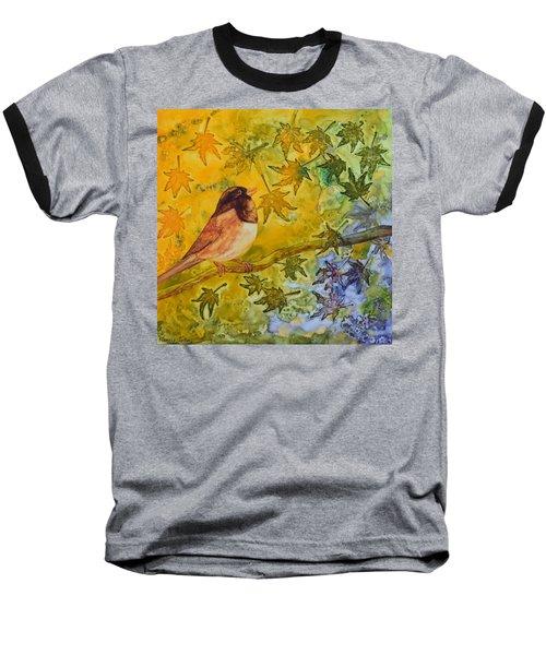 Autumn's Song Baseball T-Shirt by Nancy Jolley