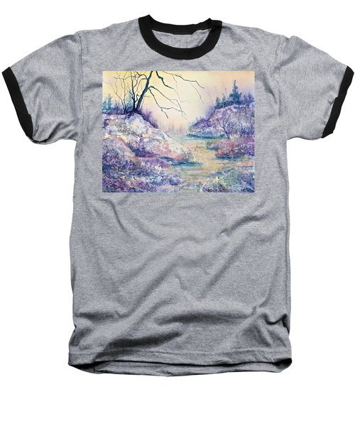 Baseball T-Shirt featuring the painting Autumnscape In Purple by Carolyn Rosenberger