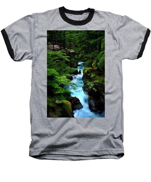 Avalanche Creek Waterfalls Baseball T-Shirt