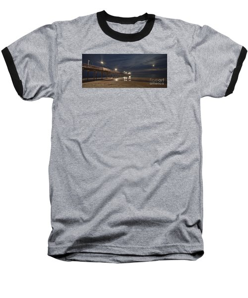 Avon Pier At Night Baseball T-Shirt by Laurinda Bowling