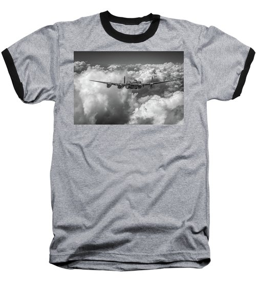Baseball T-Shirt featuring the photograph Avro Lancaster Above Clouds Bw Version by Gary Eason