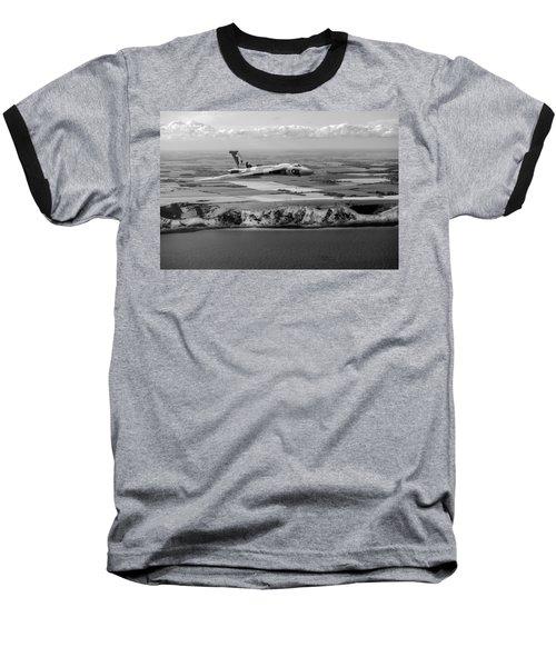 Avro Vulcan Over The White Cliffs Of Dover Black And White Versi Baseball T-Shirt