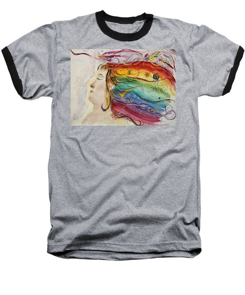 Baseball T-Shirt featuring the painting Awakening Consciousness by Donna Walsh