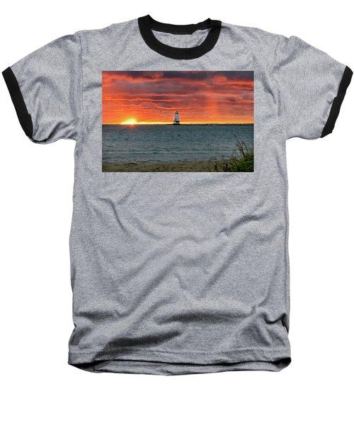 Awesome Sunset With Lighthouse  Baseball T-Shirt
