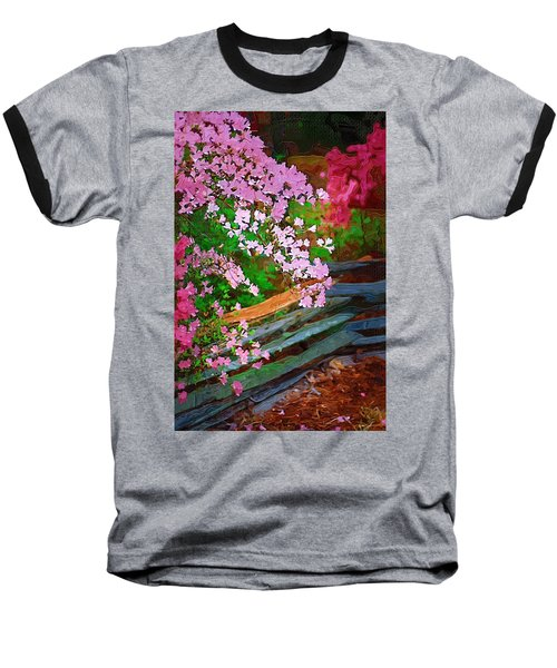 Baseball T-Shirt featuring the photograph Azaleas Over The Fence by Donna Bentley