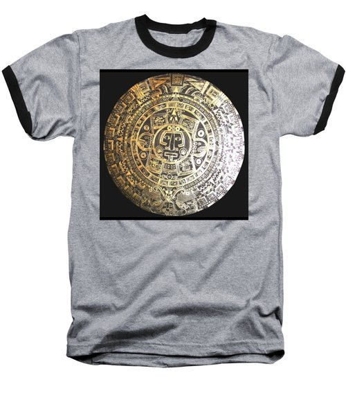 Baseball T-Shirt featuring the drawing Aztec Calendar by Michelle Dallocchio