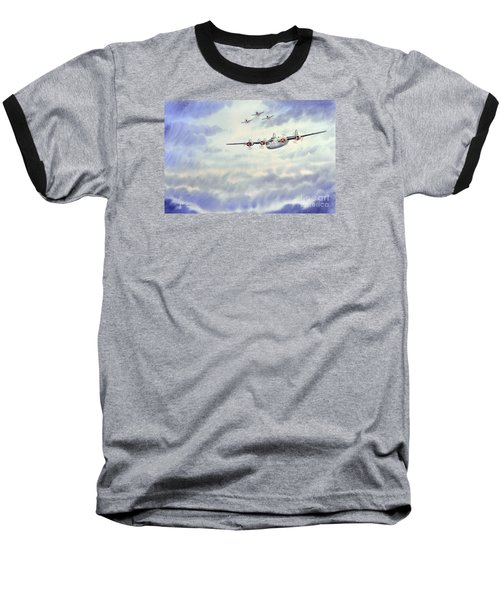 Baseball T-Shirt featuring the painting B-24 Liberator Aircraft Painting by Bill Holkham