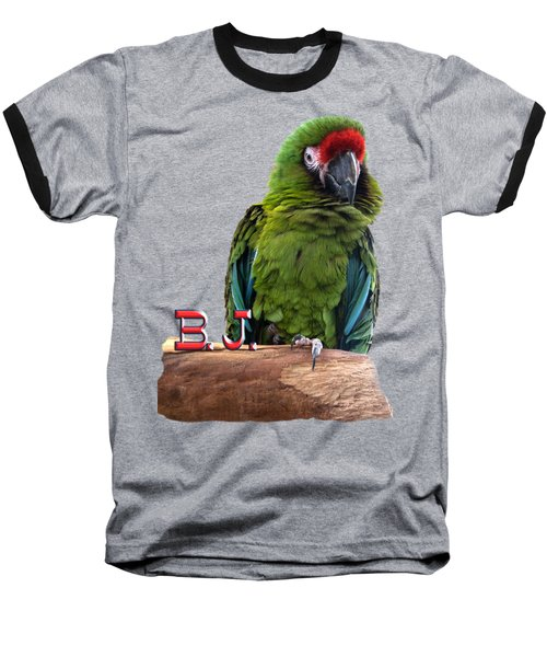 B. J., The Military Macaw Baseball T-Shirt by Zazu's House Parrot Sanctuary