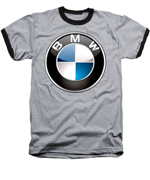 B M W  3 D Badge On Black Baseball T-Shirt