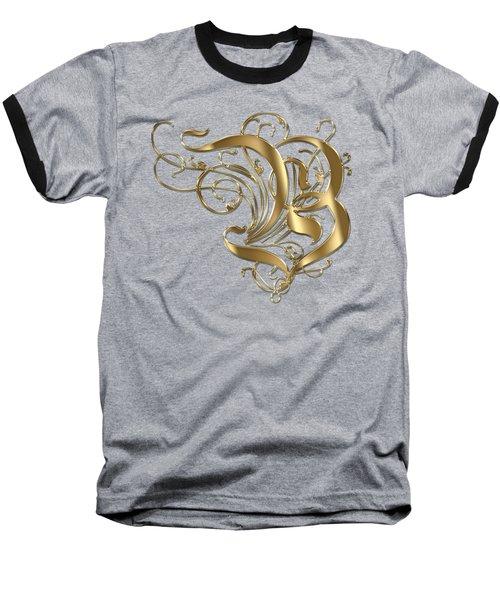 B Ornamental Letter Gold Typography Baseball T-Shirt