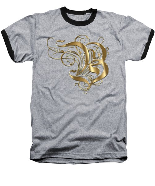 B Ornamental Letter Gold Typography Baseball T-Shirt