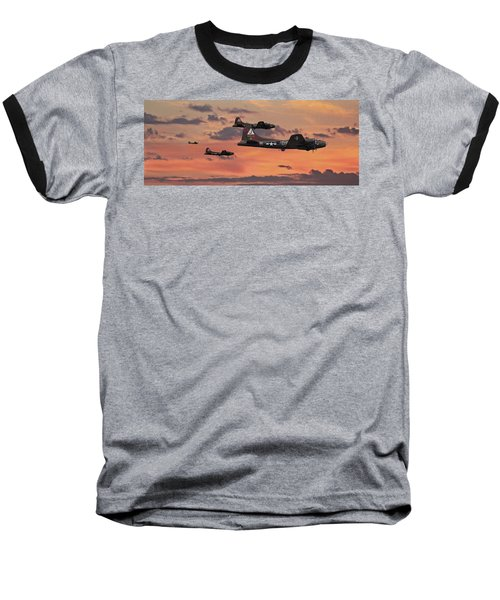 Baseball T-Shirt featuring the digital art B17 - Sunset Home by Pat Speirs