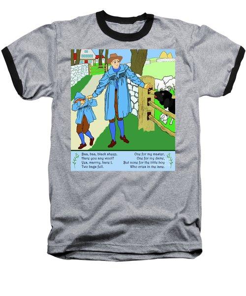 Baa, Baa, Black Sheep Nursery Rhyme Baseball T-Shirt by Marian Cates
