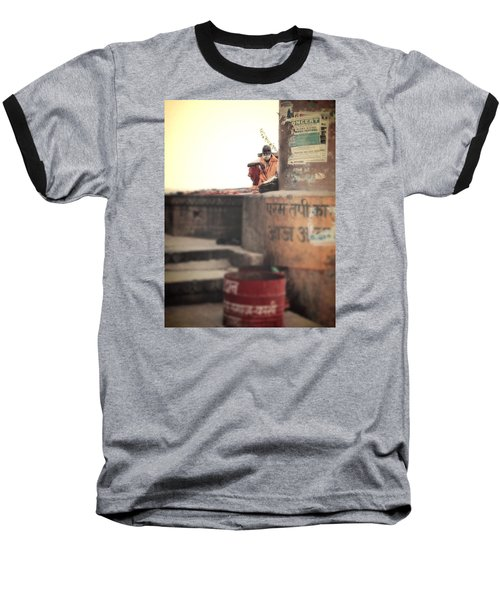 Baba At The Ghats Baseball T-Shirt