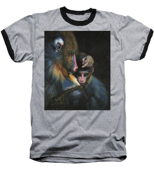Baboon Mother And Baby Baseball T-Shirt by David Stribbling