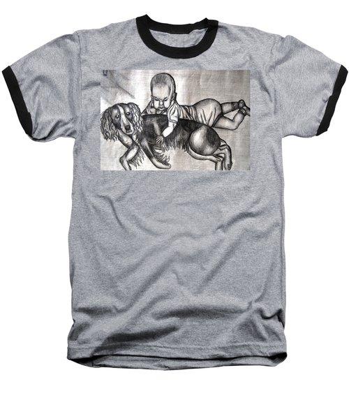 Baby And Dog Baseball T-Shirt by Angela Murray
