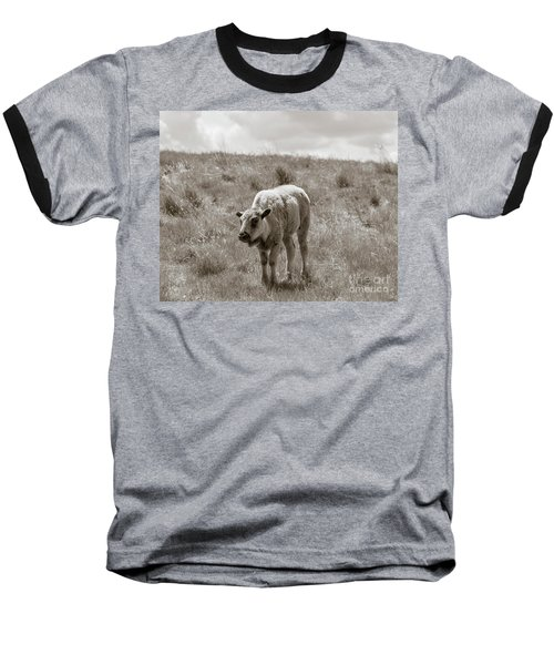 Baseball T-Shirt featuring the photograph Baby Buffalo In Field With Sky by Rebecca Margraf