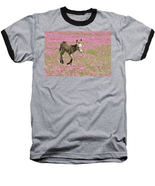 Baseball T-Shirt featuring the photograph Baby Donkey In The Flowers by Myrna Bradshaw