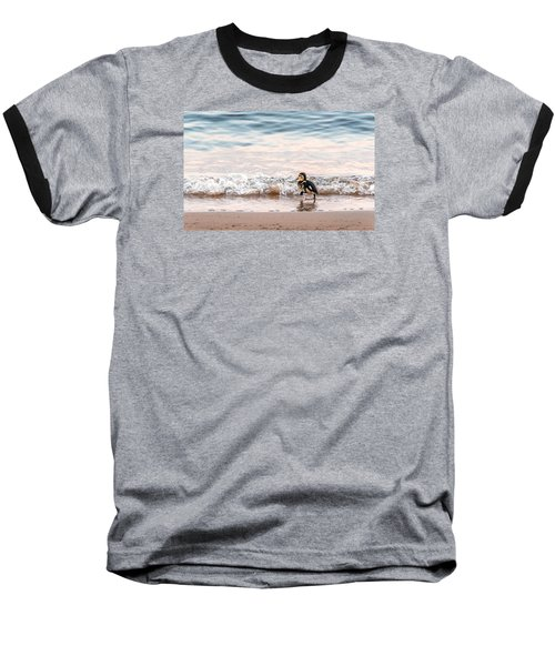 Baby Duck Running On A Beach Into The Waves Baseball T-Shirt