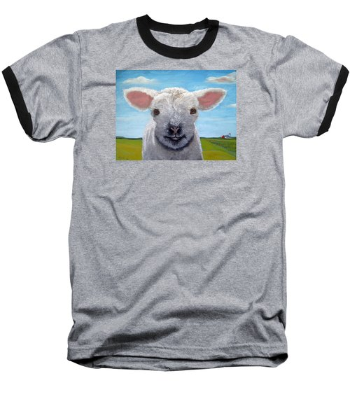 Baby Farm Lamb Sheep  Baseball T-Shirt by Linda Apple
