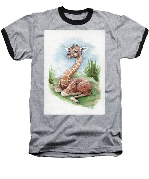 Baseball T-Shirt featuring the painting Baby Giraffe by Lora Serra