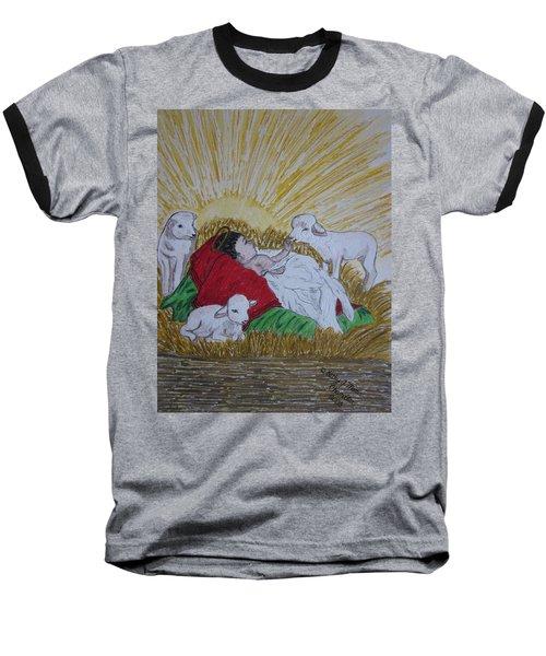 Baby Jesus At Birth Baseball T-Shirt by Kathy Marrs Chandler