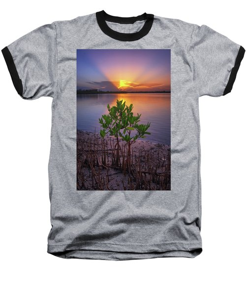 Baby Mangrove Sunset At Indian River State Park Baseball T-Shirt by Justin Kelefas