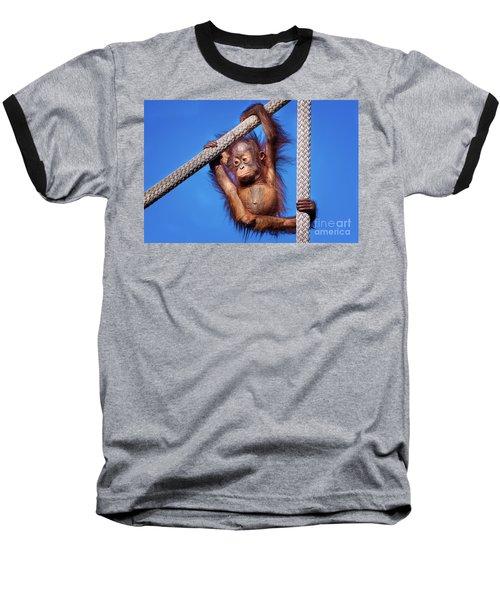 Baby Orangutan Hanging Out Baseball T-Shirt