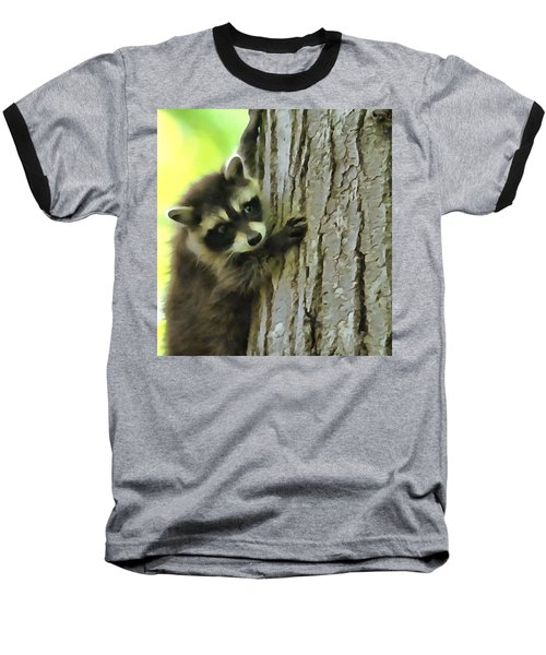 Baby Raccoon In A Tree Baseball T-Shirt by Dan Sproul