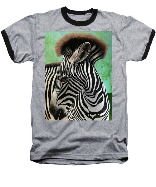 Baseball T-Shirt featuring the painting Baby Zebra by Linda Apple