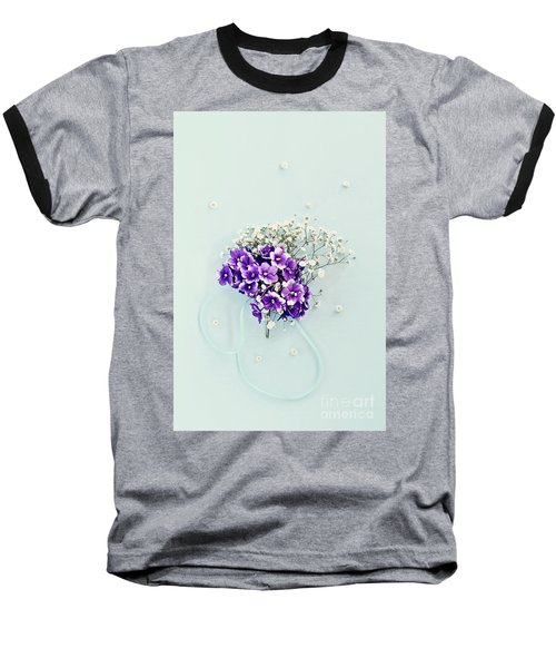 Baby's Breath And Violets Bouquet Baseball T-Shirt by Stephanie Frey