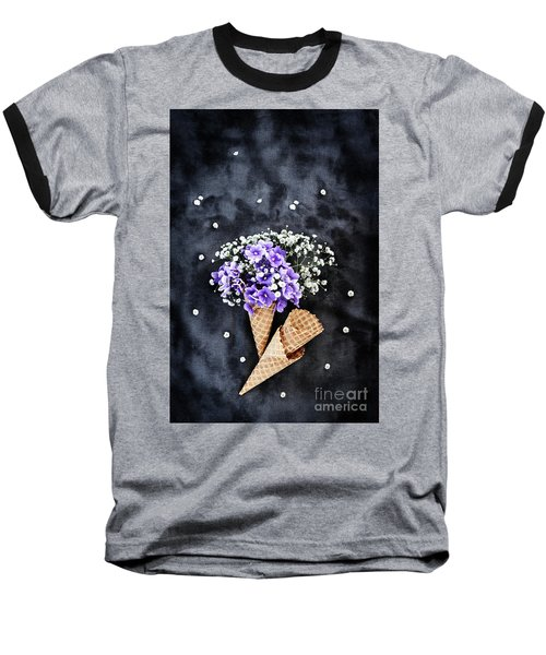 Baby's Breath And Violets Ice Cream Cones Baseball T-Shirt by Stephanie Frey