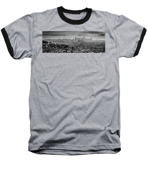 Back And White View Of Downtown San Francisco In A Foggy Day Baseball T-Shirt