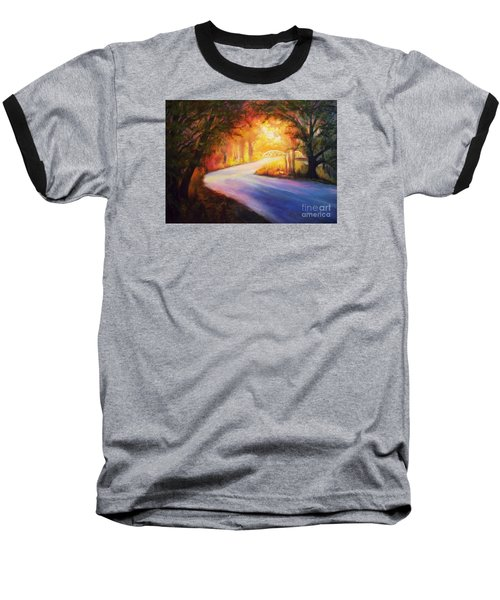 Baseball T-Shirt featuring the painting Back Road To Paradise by Karen Kennedy Chatham